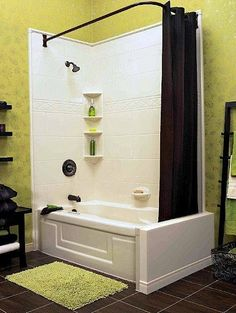 this tub and shower combo with wrap around shower curtain rod