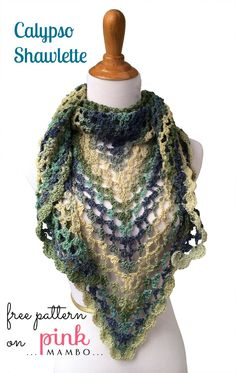 alypso Crochet Shawlette may 26, 2014 by carolyn 12 comments Beautiful blue green waves accented with a delicate shell stitch border fo...