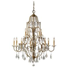 Feiss Valentina Oxidized Bronze Twelve Light Chandelier On SALE