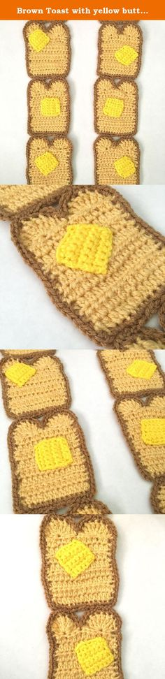 Brown Toast with yellow butter crochet scarf. For this winter get ready to get show off your love for buttered toast bread with this super cute and soft toast slice scarf! Hand crocheted with pats of butter on each slice! This is too cute statement scarf to pass up! 62 inches long made with : 100% acrylic yarn in brown, tan and yellow.