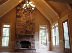 stone fireplace with cathedral ceiling | Family Room | Pinterest ...