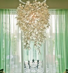 Chandelier made from 300 vintage wine glasses, The Spa at Ritz Carlton Palm Beach