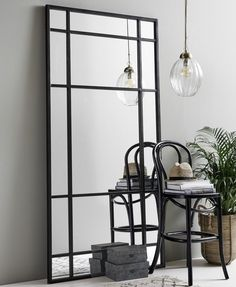 Black Iron Floor Standing Mirror High This large black iron mirror looks stunning just propped up against a wall. Industrial Mirrors, Rustic Wall Mirrors, Window Mirror, Round Wall Mirror, Black Framed Mirror, Wall Mirror Design, Large Black Mirror, Black Floor Mirror, Mirror Shelves