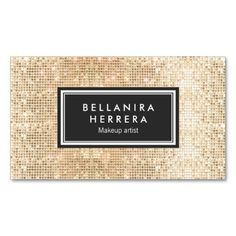 Gold Trendy Fun Sparkly FAUX Sequin Beauty Salon Double-Sided Standard Business Cards (Pack Of 100)