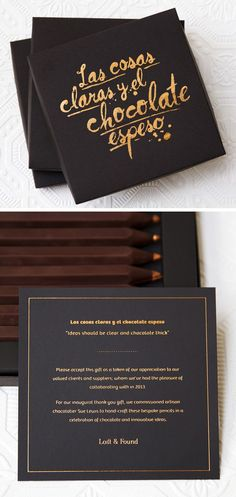 Client Christmas Gift Packaging (Chocolate Pencils) by Studio Lost & Found - http://www.studiolostandfound.com.au/