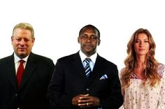 Goodwill Ambassador Gisele Bündchen (right) joins former United States Vice President Al Gore (left) and the head of Kandeh K. Yumkella, to boost the green energy campaign.
