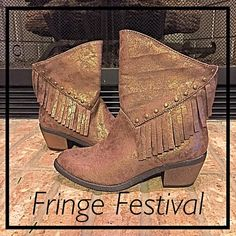 Funky Fringe Festival Cowboy Boots Funky Fringe Festival cowboy boots by Stevie's (Steve Madden's daughter) are all you need to rock the house day or night Shimmery metalllic bronze faux leather upper embellished with fringe and studs will add sass to any outfit. Marked Big Girls Size 5 Fits Women's Size 7 perfect. Very comfy and NEW (no box) Stevies Shoes Ankle Boots & Booties