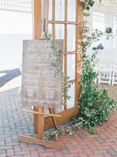 Hand lettered wooden wedding signage with greenery Coastal Wedding Inspiration, 8th Wedding Anniversary Gift, Wedding Ceremony Decorations, Wedding Ideas, Wedding Gifts, Wedding Planning Websites, Event Planning, Beach Wedding Attire, Seating Chart Wedding