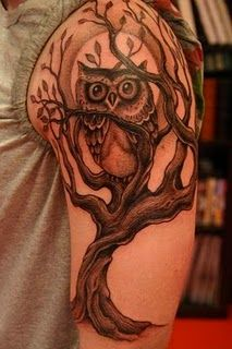 Owl from LA Ink. His sister had a mental disorder and the owl represents intelligence but the branches keep the owl locked in.Tattoo done by Corey Miller Bild Tattoos, Love Tattoos, Tattoo You, Beautiful Tattoos, Body Art Tattoos, Tattoos For Guys, Tatoos, Awesome Tattoos, Brown Tattoos
