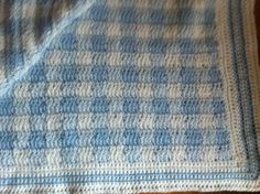 Blue gingham baby afgan I finished - has to be one of my favorite patterns