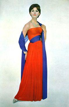 Sculptured dress by Grès, L'Officiel September 1963