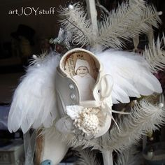 vintage baby shoe - angel - ornament - vintage - no 313. $12.50, via Etsy.