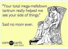 """""""Your total mega-meltdown tantrum helped me see your side of things.""""    Said no mom ever."""