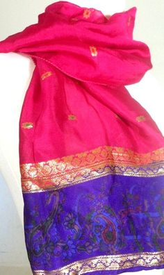Small Silk Scarf, Paisley Scarf, Neck Scarf, Accent Scarf, Pink Silk Scarf, Purple Silk Scarf, Silk Sari Scarf. $15.99, via Etsy.
