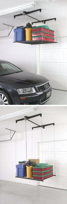 Raises and lowers for easy access! 28 Brilliant Garage Organization Ideas