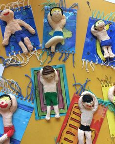 Suitable for the summer holidays: beach life class .- Passend zu den Sommerferien: Strandleben 🏖 🏝 Klasse ☺️ Suitable for the summer holidays: beach life 🏖 🏝 class ☺️ lessons school - Clay Projects, Projects For Kids, Crafts For Kids, Arts And Crafts, Clay Crafts, Summer Crafts, Summer Art, Summer Kids, Arte Elemental