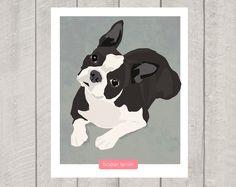 Boston Terrier Art Print Dog Art 8x10 by HappyTailPrints on Etsy