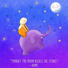 """Tonight the moon kisses the stars"" -Rumi #BuddhaDoodles"