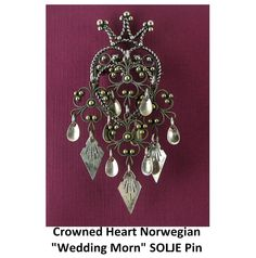 Large Norwegian SILVER Wedding Morning Gift Crowned HEART SOLJE Pin. Click on the image for more information. Norwegian Clothing, Norwegian Wedding, Wedding Morning, Rosalie, I Love Heart, Vintage Brooches, Mittens, Birthstones, Norway