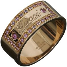 gucci preowned gucci 18k pink gold pink sapphire logo band ring liked on polyvore featuring jewelry rings accessories none rose gold