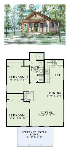 Narrow Lot House Plan 82343 | Total Living Area: 691 SQ FT, 2 bedrooms and 1 bathroom. #narrowlothome