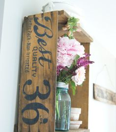 Great idea! Hang a vintage crate on the wall as a decorative shelf!