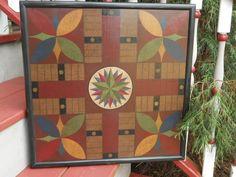 Primitive Parcheesi Game Board Folk Art Antique Reproduction. $80.00, via Etsy.