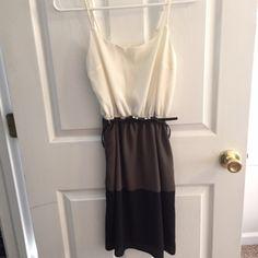 Color block dress Worn once. Color block- white, olive, black. Comes with belt. Studio Y Dresses