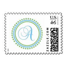 A Monogram (Blue / Mint Green Dot Circle) Stamps