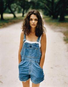 Vintage 90s Katie Holmes + overalls