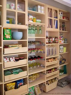 A pantry system that you can custom design to fit your own space will help you to stay organized. There are lots of storage solutions that you can design and install yourself. This one has basket storage, pull-out shelves, pull-out spice and wine racks, and so much more.