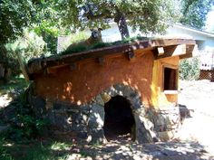 Hobbit dog house with living roof!