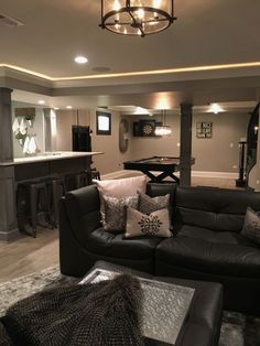 there are different levels of ceiling heights in the basement due to duct work & don't want the lower level to feel like a basement & want to make the ceilings a little interesting, drop the crown in the media room and bar area and add rope lighting. Decor, Small Basements, House, Basement Ceiling, Family Room, Home, Basement Decor, New Homes, Cozy Basement