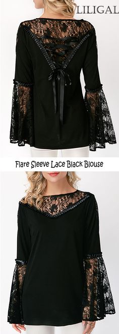 Flare Sleeve Lace Stitching Bowknot Back Blouse #liligal #blouse #shirts #top #womenswear #womensfashion