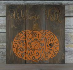 Fall Pumpkin Sign - Rustic Fall Decor - Fall Wood Sign - Pumpkin Decor - Rustic…