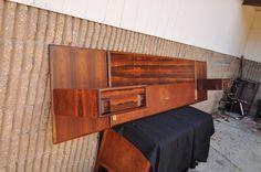 Vtg Mid Century Modern Rosewood King Bed Headboard Pair Nightstands Danish Sty | eBay