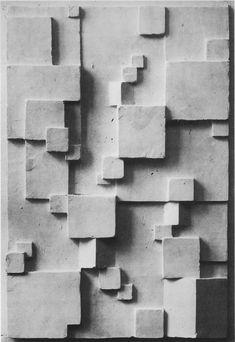 Rudolf Lutz: plaster relief with square and rectangular form characters, Plaster Sculpture, Art Sculpture, Wall Sculptures, Geometric Sculpture, Abstract Sculpture, Geometric Art, Art Concret, Concrete Art, Art Bauhaus