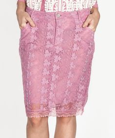 Look what I found on #zulily! Tantra Pink Embroidered Pencil Skirt by Tantra #zulilyfinds