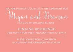 Megan and Branson Insert Front Pleasant View, Simple Wedding Invitations, You Are Invited, Announcement
