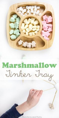 Marshmallow Tinker Tray- preschool fine motor and STEM activity