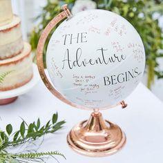 Globe Alternative Wedding Guest Book By Ginger Ray Wedding Book, Wedding Signs, Rustic Wedding, Wedding Unique, Wedding Cards, Diy Wedding, Globe Guest Books, Gold Globe, Wedding Messages