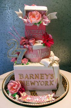 Shopper Wife Cake~  tiered cake as designer store boxes~Victoria's Secret, Neiman Marcus, Barneys