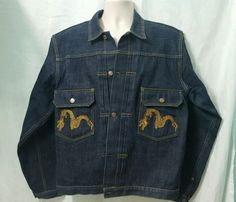 EVISU-Mens-No-1-Special-Jean-Denim-Jacket-XL-Lot-0370-Dragon fa633e9088