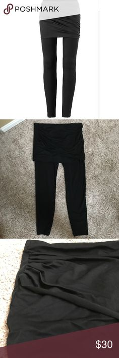 """Cabi Mesh Skirt with Black Leggings style# 5080 Cabi black Mesh M Leggings with skirt style# 5080 size medium.  Excellent like new condition. No piling. 15 1/2"""" across the waist and 34"""" long. Cotton spandex blend. Skirt is nylon spandex blend. Awesome leggings. CAbi Pants Leggings"""