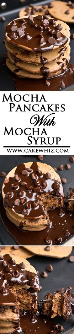MOCHA PANCAKES with MOCHA SYRUP ... the ultimate breakfast and perfect for all the chocolate/ coffee addicts out there! From cakewhiz.com