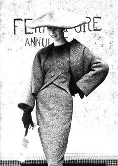 "Christian Dior's ""Y line"" dress 1955-56 autumn winter"