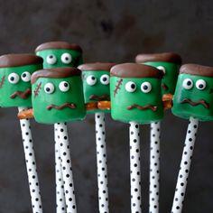 Frankenstein Marshmallow Pops from justataste.com #halloween