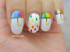 Rainbow Umbrella Nail Wrap | chichicho~ nail art addicts