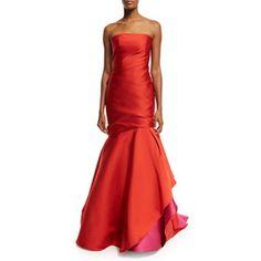 Monique Lhuillier Strapless Colorblock Ball Gown