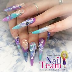 i did this set a few weeks back of russian almond acrylic sculpture nails with nsi, crystal nails, glam and glits and nail team unicorn flakes, all products . Sculptured Nails, Crystal Nails, Nail Technician, Almond Nails, Pretty Nails, Nail Art, Crystals, Beauty, Training